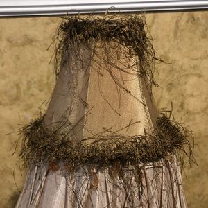 Other - Small lamp shade,  fringed with bead at bottom